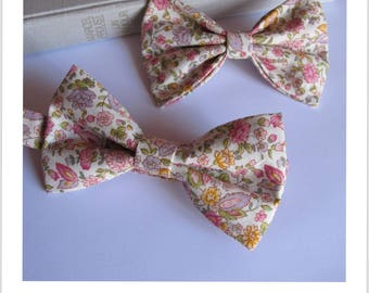 Bow tie for him and her pink floral fabric