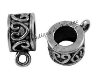 Silver 5 BAILS METAL rings for bracelet charms - creating jewelry beads