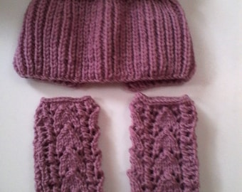 Snood and mittens t. 4 / 5T handknit
