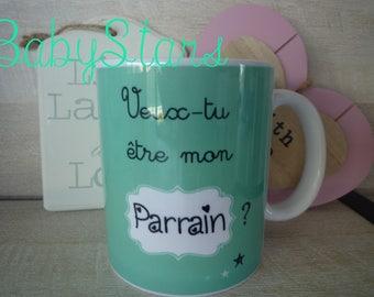 Godparent gift surprise baby announcement mug