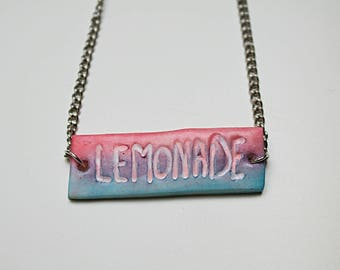 """Necklace - Polymer clay """"lemonade"""" sign"""