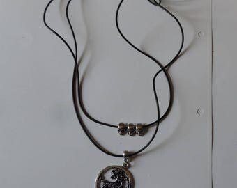 Double dragon and skull combination necklace