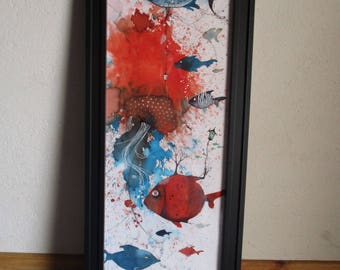 Universe fishy - fish - red and blue - vertical framed painting