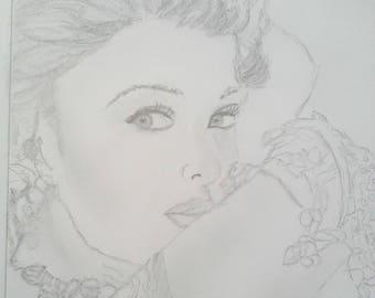 pencil drawing young woman!