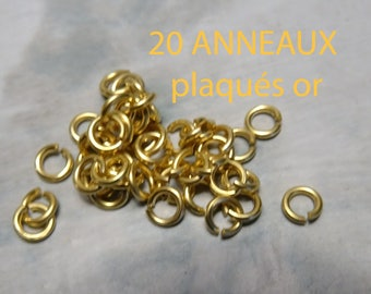 20 4mm open quality gold plated rings