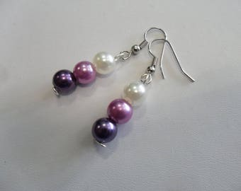 Pink ivory plum pearls wedding jewelry earrings