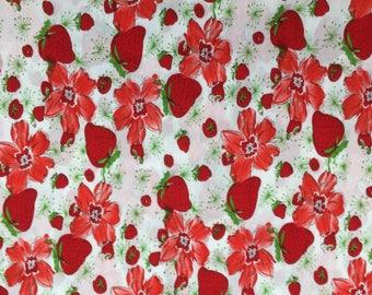 100% Cotton Poplin Fabric Red Strawberries - Dressmaking, Crafts
