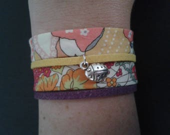 cuff bracelet liberty fabric and cord suedine