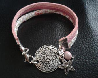 braclet liberty suedine Medallion pink glitter