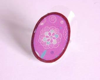 Plum and purple floral pattern ring