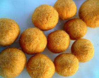 saffron yellow, or orange felted wool size 16 to 18mm beads