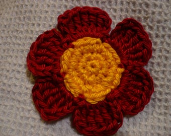 crochet flower, yellow and Red cotton