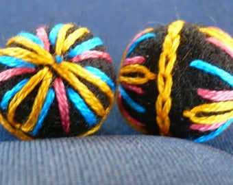 felted wool, embroidered, black and multicolor beads