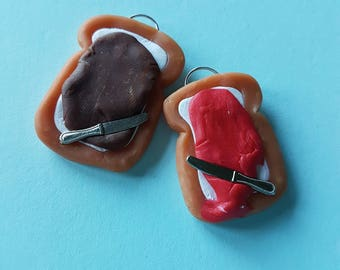 Polymer clay jam and bread necklace pendant