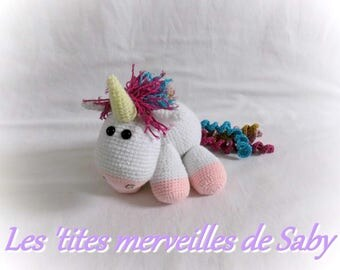Sparkly Rainbow Unicorn crochet toy