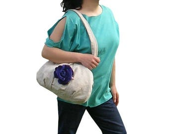 Bag * blue flower * - linen and cotton beige - Romantic fantasy