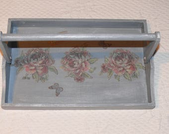 Small wooden tray, with handle, rustic and romantic style