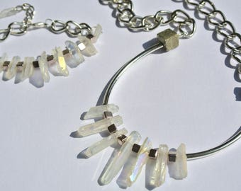 Arctic Crystal quartz and Pyrite necklace