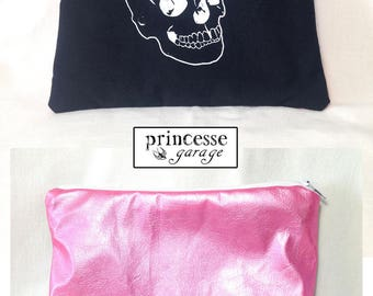 Pouch skull / skull screen printed by hand