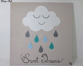 """Painting """"Sweet Dreams"""" cloud and raindrops in blue felt"""