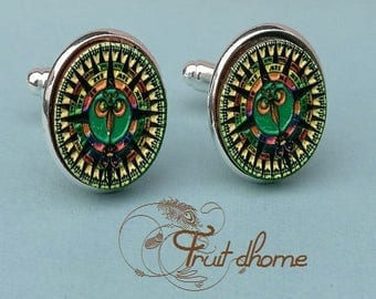 """Nice pair of cufflinks """"Marius"""" silver metal and wood cabochons hand painted"""
