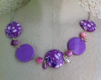 Purple mosaic necklace