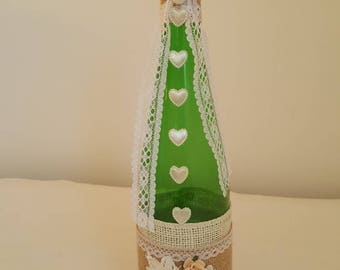 Decorated glass bottle/vintage decorated bottle/Decorated burlap and lace glass bottle vase/wedding/mother's day/centre pieces/home decor