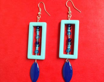seed beads and blue rectangle earrings