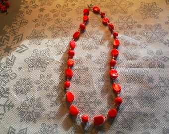 beautiful unique and Red beaded necklace