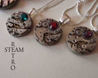 Steampunk watch movement Swarovski necklace