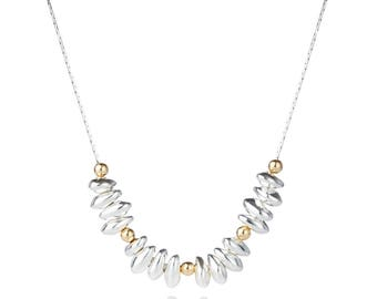 Gold and Silver Nugget Necklace