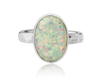 Silver Hammered White Opal Ring