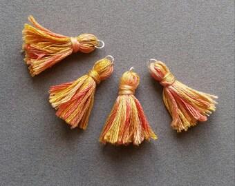 Tassels handmade shades of yellow orange, silver ring.  set of 4