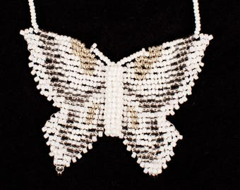 3D Baptism/Wedding Butterfly Beaded Necklace (Custom Colors)