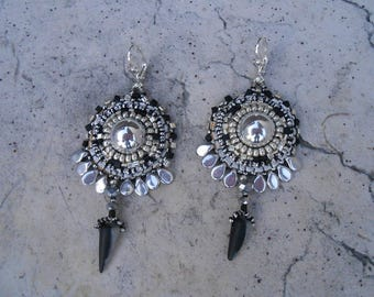 "Embroidered ""beautiful silver"" beaded earrings"
