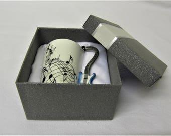 Electric Guitar Music Theme Bone China Mug in Handmade Presentation Gift Box