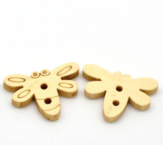BBN207 - 2 BEES NATURAL WOODEN BUTTONS