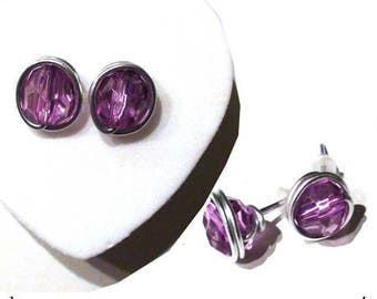 Earrings Silver 925/1000. chips with Amethyst colored stones