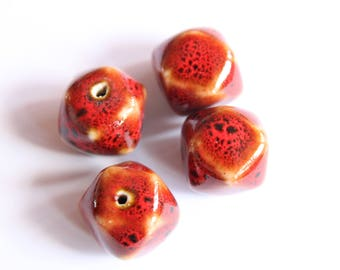 Red Chinese porcelain beads, 17 * 17 mm set of 5