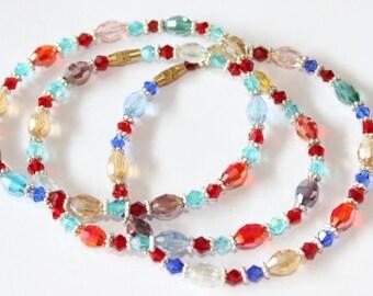 Bracelet Bohemian crystal, red, screw clasp, 190 mm