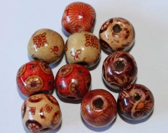 Printed, 13 mm, set of 10 wooden beads