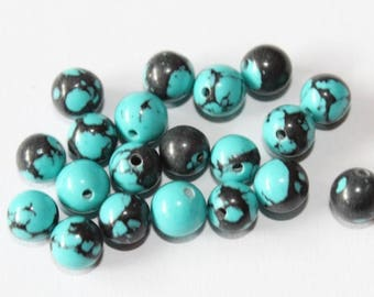 stone 6 mm, black and turquoise, set of 10 beads