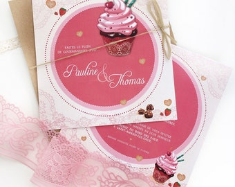 Pink cupcake treats wedding announcements