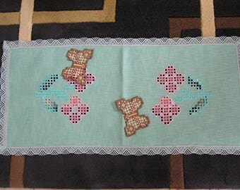 Embroidered in Hardanger green table runner