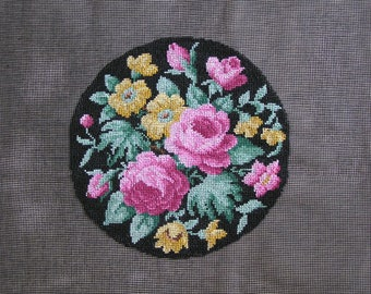 Pink canvas embroidery