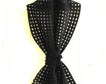 Black hand crocheted scarf