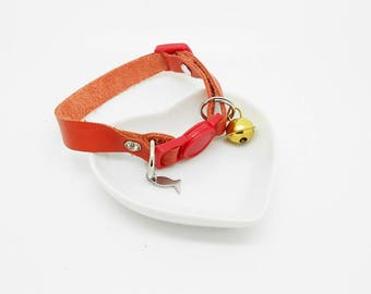 adjustable leather cat collar orange clasp and Bell, rhinestones and small fish
