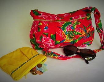"""Bag """"Pigeon"""" Chinese fabric lined and quilted, inside pocket."""