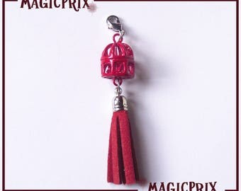 PENDANT CAGE and TASSEL red m074 & CHARM charm