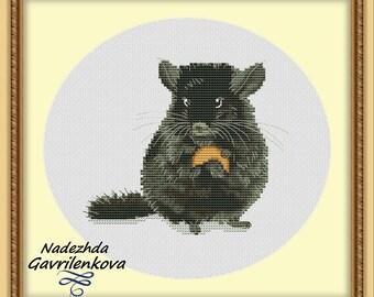 Chinchilla Cross Stitch Pattern Animal pattern Modern cross stitch pattern PDF Embroidery room wall decor